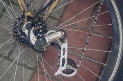 Das Hinterrad des Fahrrades Gangverschiebung lizenzfreies stockbild