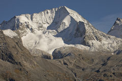 Das Hochgall voll des Schnees am Fall, in Reintal, italienische Alpen lizenzfreie stockbilder