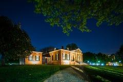 Das Homewood-Museum nachts, an den Universität John Hopkins, im Ba stockbild