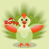 Das Ikonenbild, das ein junger Hahn mit Federn grünen, flaumiges intelligentes Endstück zwei tausend siebzehntes 2017 auf hellem  Lizenzfreies Stockfoto