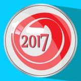 Das Ikonenbild das siebzehnte Rot 2017 der Knopfreflexionsglaszahl zwei tausend auf einem blauen fone simvol Weihnachtsphantasie  Stockfotografie