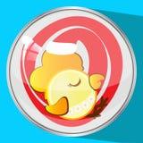 Das Ikonenbild ein junger Hahn in der roten Kappe, zu schlafen neues Jahr und Weihnachtssymbolhahnhuhn die Knopfreflexion Stockfotografie