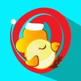 Das Ikonenbild ein junger Hahn in der roten Kappe, zu schlafen neues Jahr und Weihnachtssymbolhahnhuhn wenden für Design auf, Stockbild