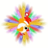 Das Ikonenbild ein junger Hahn im Kappensymbol Weihnachtshahnhuhn mit Federn zu für Design aufwenden, die Presse, t Lizenzfreies Stockbild