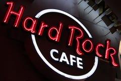 Das ikonenhafte Zeichen von Hard- Rock Caferestaurant Stockfoto
