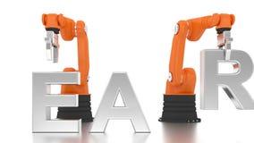 Das industrielle Roboterarmerrichten LERNEN Wort stock video footage