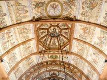 Das Innendach an der hölzernen Kirche von Botiza Lizenzfreies Stockfoto