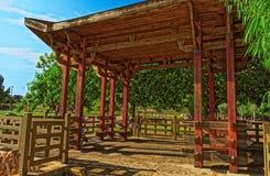 Das Innere einer asiatischen Hütte Stockbild