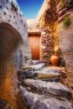 Das Innere venetianischen Schlosses Akrotiri, Santorini-Insel Stockfotos