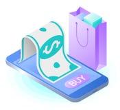 Das intelligente Telefon, Papierdollar, Einkaufstasche Vektor isometrisches IL Lizenzfreie Stockfotos