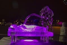 Das 20. internationale Eis-Skulptur-Festival im Jelgava Lettland Stockbilder