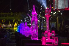 Das 20. internationale Eis-Skulptur-Festival im Jelgava Lettland Lizenzfreie Stockbilder