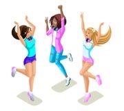 Das Isometrics-Jugendlichspringen, Generation Z, starke Mädchen, schön und jung, lustig und hell, Sommer kleidet, Telefone, Gerät vektor abbildung