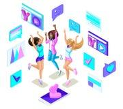 Das Isometrics-Jugendlichspringen, Generation Z, starke Mädchen, schön und jung, Sommer kleidet, ruft Social Networking, Geräte a stock abbildung