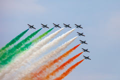 Das italienische Demonstrationsteam Frecce Tricolori Stockfotografie