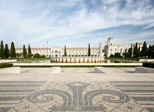 Das Jeronimos-Kloster oder Hieronymites-Kloster wird herein lokalisiert Lizenzfreie Stockfotos