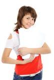 Das junge Mädchen mit Dokumenten Stockbilder