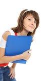 Das junge Mädchen mit einem Faltblatt Stockfoto