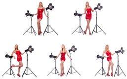 Das junge Modell während des photoshoot im Studio Lizenzfreie Stockfotos