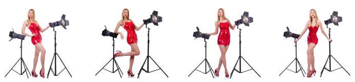 Das junge Modell während des photoshoot im Studio Stockfoto