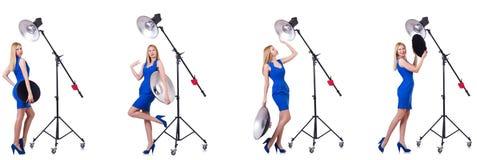 Das junge Modell während des photoshoot im Studio Stockfotografie