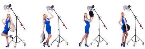 Das junge Modell während des photoshoot im Studio Stockfotos