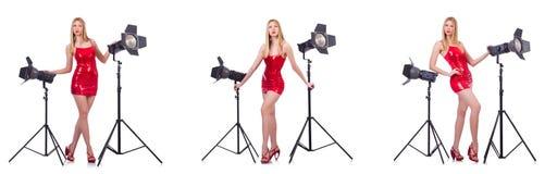 Das junge Modell während des photoshoot im Studio Stockbilder