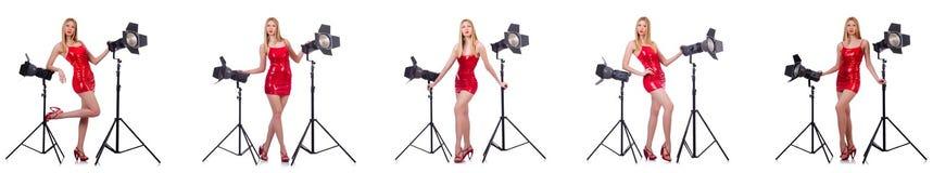 Das junge Modell während des photoshoot im Studio Lizenzfreie Stockbilder