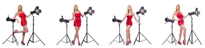 Das junge Modell während des photoshoot im Studio Lizenzfreie Stockfotografie