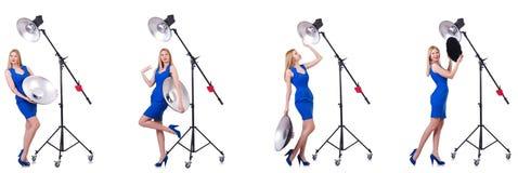 Das junge Modell während des photoshoot im Studio Stockbild