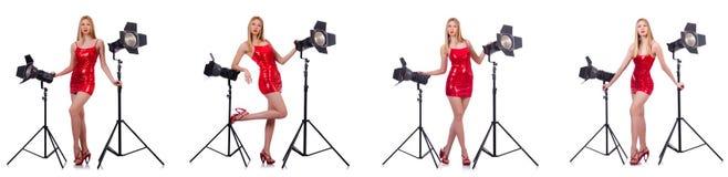 Das junge Modell während des photoshoot im Studio Lizenzfreies Stockbild