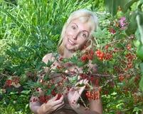 Das junge schöne Mädchen nahe zu einem Busch einer roten Johannisbeere. Porträt an einem sonnigen Tag Stockbilder