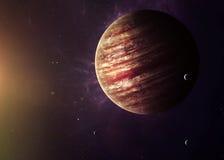 Das Jupiter schoss vom Raum, der allen sie zeigt stockbild