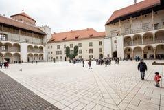 Das königliche Wawel-Schloss, italienisches palazzo in Krakau Stockbilder