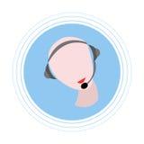 Das kahle Mädchen in den Kopfhörern mit einem Mikrofon Flache Ikone Stockfotos