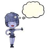 das Karikaturvampirsmädchen, das Daumen gibt, up Zeichen mit Gedankenblase Stockbilder