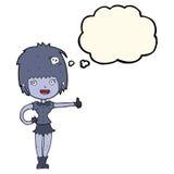 das Karikaturvampirsmädchen, das Daumen gibt, up Zeichen mit Gedankenblase Lizenzfreies Stockbild