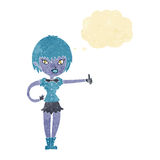 das Karikaturvampirsmädchen, das Daumen gibt, up Zeichen mit Gedankenblase Stockfotos