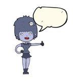 das Karikaturvampirsmädchen, das Daumen gibt, up Zeichen mit Spracheblase Stockfotografie