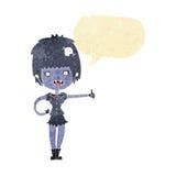 das Karikaturvampirsmädchen, das Daumen gibt, up Zeichen mit Spracheblase Stockbilder