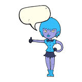 das Karikaturvampirsmädchen, das Daumen gibt, up Zeichen mit Spracheblase Stockfoto