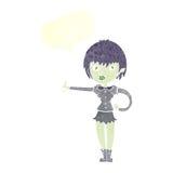 das Karikaturvampirsmädchen, das Daumen gibt, up Zeichen mit Spracheblase Stockbild