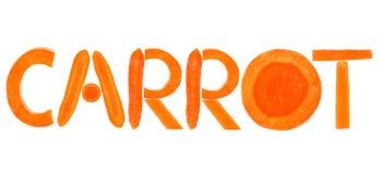 Das Karottenwort, das mit Buchstaben geschrieben wurde, bildete sich von den Karotten Stockfoto