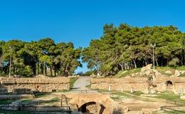 Das Karthago-Amphitheater, ein acient römisches Amphitheater in Tunis, Tunesien Stockbilder