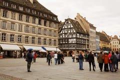 Das Kathedralequadrat in Straßburg Stockfotografie
