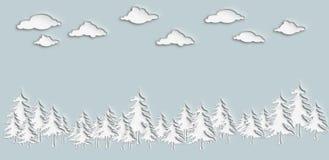 das Kieferwaldpapier-Schnittdesign mit Wolkenhintergrund Stockfotos