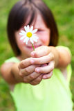 Das Kind hält eine Blume an Stockfotografie