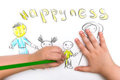 Das Kind malt eine Skizze der Familie Stockbilder