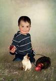 Das Kind und die Äpfel und die Katze Lizenzfreies Stockbild