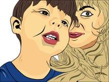 Das Kind und seine Mutter, die hinten aus- schaut Stockfotografie